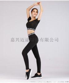 瑜伽服女 字母短袖显瘦紧身健身裤跑步运动套装