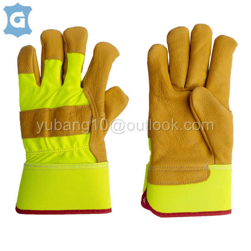 棕黄色牛头层皮革工作保护手套