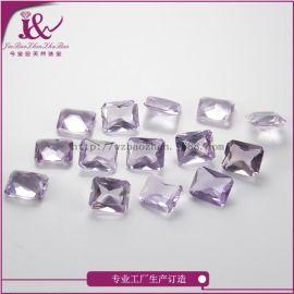 宝石工艺品天然紫水晶裸石长方倒角10*12mm可定制首饰加工镶嵌