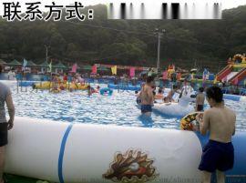 保定充气水上游艺设施pvc夹网布充气水池总代直销