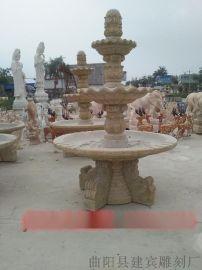 花岗岩水钵石雕喷泉 景区广场摆放