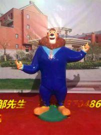 疯狂动物园雕塑 卡通人物  玻璃钢疯狂动物园卡通狮市长摆设定做