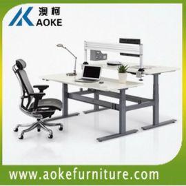 四柱升降办公台电动升降办公桌双人工作台