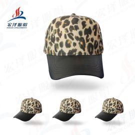 帽子女士时尚欧美风豹纹麂皮绒刺绣字母短檐棒球帽时尚鸭舌帽批发