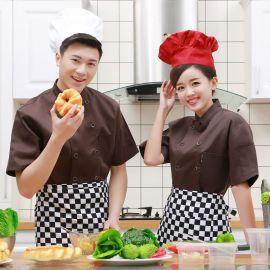 咖啡色酒店厨师工作服 新款 短袖西餐厅厨师服定做厂家 厨师服