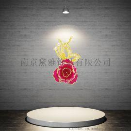 黛雅玫瑰花吊坠 七夕厂家直销烤漆镀金玫瑰花创意手工礼物