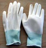 白pu碳纤维涂掌手套防静电涂层手套尼龙13针劳保涤纶防滑电子手套