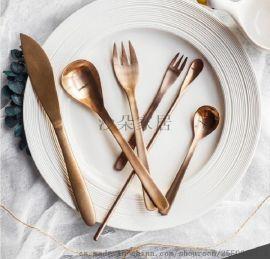拉丝304不锈钢餐具 玫瑰金套装刀叉勺 六件套可选