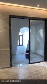 佛山黑色淋浴房隔断移门一字型卫生间极简钢化玻璃门
