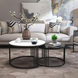 北欧大理石金色圆形茶几 简约现代小户型茶几组合泡茶桌沙发边几