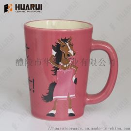 外贸出口美国炻瓷双色釉陶瓷杯卡通图案马克杯