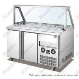 披萨冷藏柜、甜品展示柜配料冷柜、不锈钢气缸冷柜