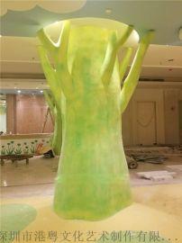 供应祈福院室内布展玻璃钢仿真树木造型罗马柱雕塑