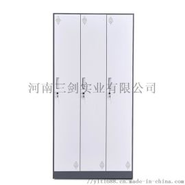 钢制浴室健身房 衣柜套色薄边员工3门储物柜