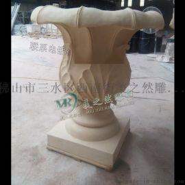 砂岩花钵雕塑 沙岩花盆酒店别墅装饰雕塑