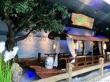 浙江杭州哪里有绿茶网红餐饮船室内特色餐厅木船