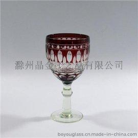刻花玻璃杯 酒杯 花瓶 果盘 烟灰缸 烛台 浮雕玻璃装饰花瓶手工雕刻 人工吹制
