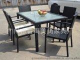 一桌六椅PE戶外編藤桌椅