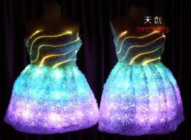 定制 天创发光婚纱礼服LED发光服舞台服饰 发光演出服敬酒服 LED礼服