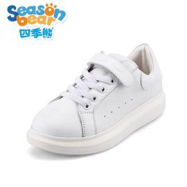 四季熊女童鞋韩版运动休闲鞋男童厚底板鞋学生鞋跑步单鞋小白鞋潮