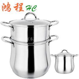 不锈钢复底加厚特高锅二层特高锅蒸锅砂光弧型鼓形大煲汤锅具厨具