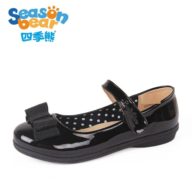四季熊**皮鞋夏寄公主鞋黑色中大童鞋儿童软底单鞋学生鞋演出鞋