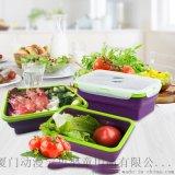 新款矽膠飯盒 方形可摺疊單格微波爐矽膠便當盒 學生午餐飯盒批發