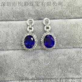 18K白金坦桑藍寶石耳釘 高級珠寶坦桑石耳環訂制 18k金嵌鑽坦桑石耳墜