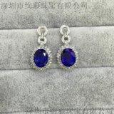 18K白金坦桑藍寶石耳釘 高級珠寶坦桑石耳環訂製 18k金嵌鑽坦桑石耳墜