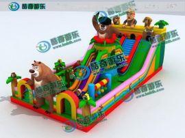 熊出没充气大滑梯 小孩喜欢玩的充气蹦床多少钱