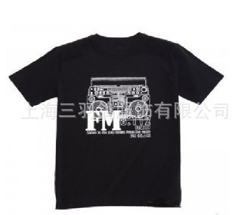 供應黑色T恤 純棉印花時尚T恤 男式圓領t恤 外貿男t恤批發廠