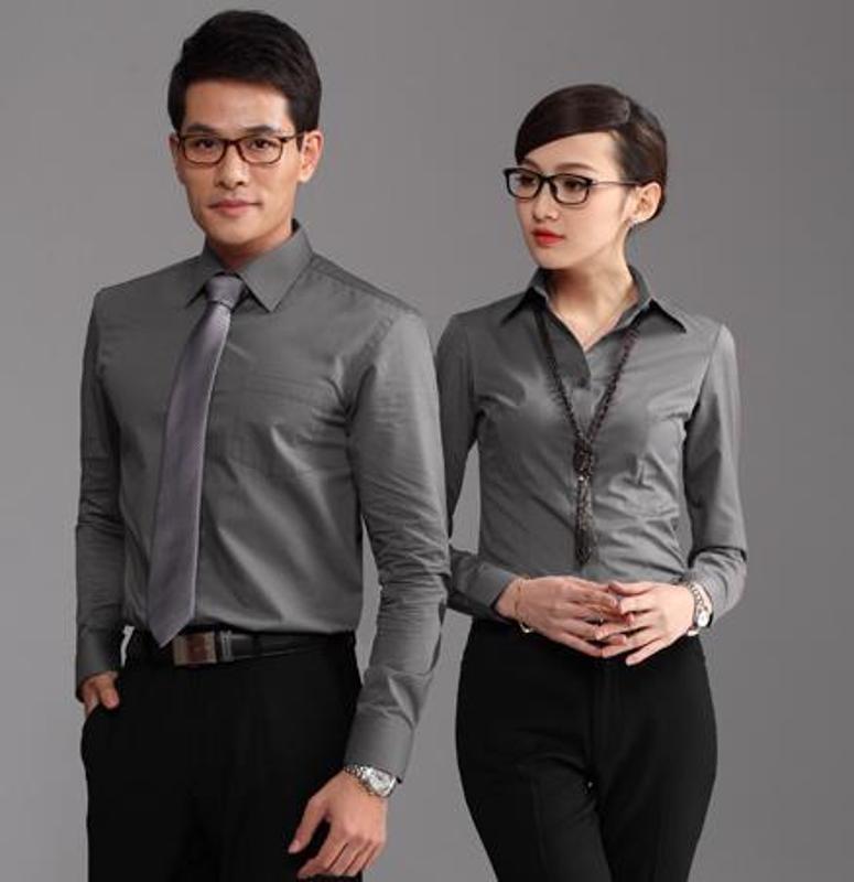 廠家定做新款職業襯衫長袖男士工作服打底修身正裝工裝