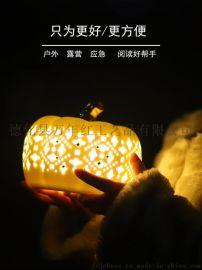 陶瓷露营灯手工镂空白瓷灯应急灯家居装饰镂空灯