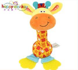 卡通摇铃棒玩具牙胶公仔毛绒玩具动物玩具手摇铃