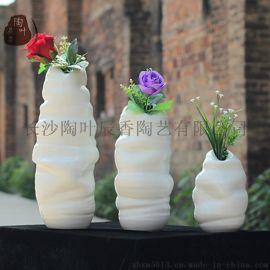 长沙铜官窑现代简约白色毛毛虫陶瓷花瓶创意时尚摆件家居装饰品陶瓷工艺品