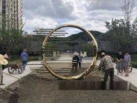 电镀玫瑰金色圆形雕塑艺术金属摆件