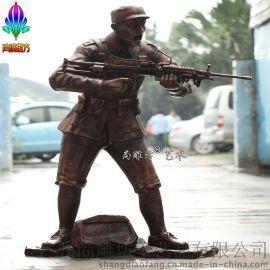 仿铜  战士园林景观小品雕塑 尚雕坊供应大型玻璃钢人物雕塑