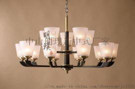 新中式全铜云石吊灯 书房客厅餐厅吊灯