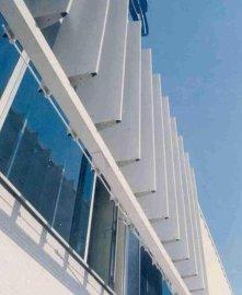 厂家直供梭形铝合金外遮阳百叶系统