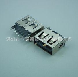 深圳厂家大电流母座USBAF10.0直插5PIN 铜壳大电流USB母头连接器