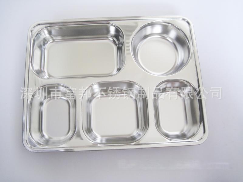 不锈钢快餐盒加深加厚分格饭盒五格送餐盒(可配盖)