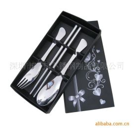高档礼品餐具 广告礼品 光柄勺叉筷三件套 鱼尾勺叉 不锈钢勺叉