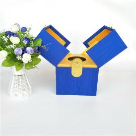 双开式茶叶盒布料包中纤板茶叶盒木质礼品茶叶包装盒