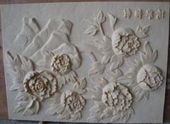 花开富贵浮雕  砂岩背景墙 人造砂岩浮雕