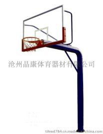 晶康牌YDQC-10006圆管地埋篮球架配钢化玻璃篮板