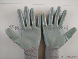 灰色丁晴手套 防油漬浸膠手套13針尼龍手套