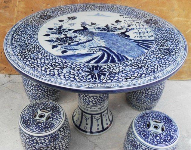 景德镇1m手工青花陶瓷瓷桌,陶瓷桌子,**褪色的瓷器桌子