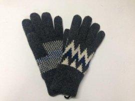 女式腈纶几何图案全指五指提花针织手套