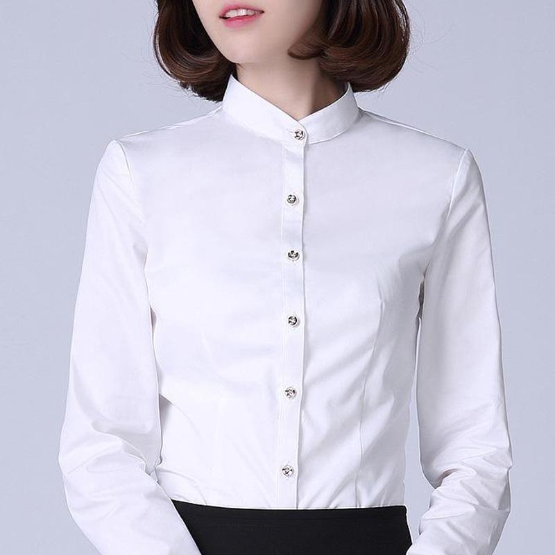 立领衬衫春秋季新款修身立领白衬衫女长袖OL职业工装的定制lo