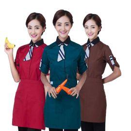 秋冬酒店工作服快餐饭店咖啡厅服务员工装可刺绣店标
